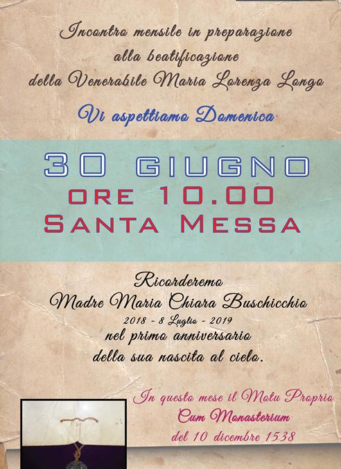 Incontro Mensile – Santa Messa – Anniversario nascita al cielo di Madre Chiara Buscicchio